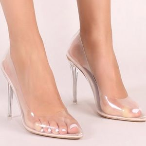 216a6059cad Public Desire Shoes - DRANK CLEAR PERSPEX COURT HEELS IN NUDE